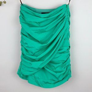 Animale Brazil Mint Green Ruched Strapless Top